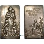 AD094, France & Serbia, Silver Plaque WW1 Medal 1917 (70x40mm, 85g)  Saving of Serbian Children, Rare!!
