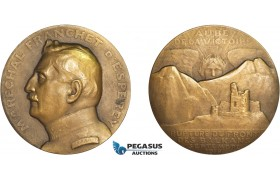 AD095, France, Bronze WW1 Medal 1918 (Ø68mm, 151g) by Roger – Bloche, Balkan Front, Marshal Franchet d'Esperey
