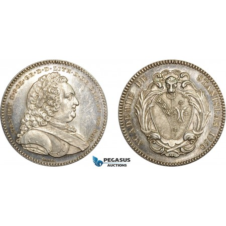AD101, Poland & France, Silver Medal (1750) (Ø33m, 16.7g) by Borrel, Nancy Stanislas Academy