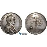 AD102, Sweden, Silver Medal 1749 (Ø32mm, 11.1g) by Fehrman, Christopher Polhem, Engineer, Rare!