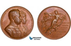 AD107, Sweden, Bronze Art Nouveau Medal 1890 (Ø44.5mm, 38.7g) Gustav Ahlborn Wedding, Angel
