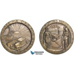 AD115, Sweden & United States, Bronze Medal 1928 (Ø70mm, 120g) General Motors, Car, Viking Ship