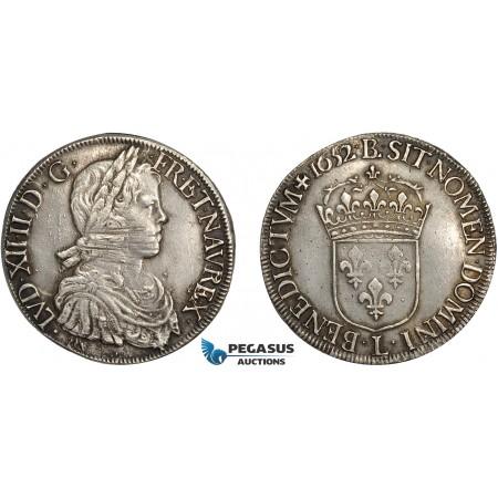 AD121, France, Louis XIV, Ecu 1652-L, Bayonne, Silver (27.01g) Toned AU