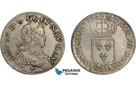 AD122, France, Louis XV, Ecu 1724 (9) Rennes, Silver (24.38g) Gad. 319 (R2) Rare! XF