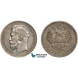 AD123, Russia, Nicholas II, Rouble 1899 (ФЗ) St. Petersburg, Silver, Toned AU