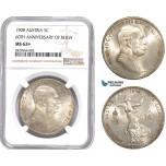 AD129-R, Austria, Franz Joseph, 5 Corona 1908, Vienna, Silver