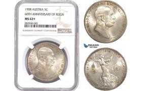 "AD129-R, Austria, Franz Joseph, 5 Corona 1908, Vienna, Silver ""60TH ANNIVERSARY OF REIGN"" NGC MS62+"