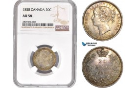 AD130-R, Canada, Victoria, 20 Cents 1858, Silver, NGC AU58