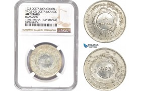 AD134, Costa Rica, Colon 1923, C/S on 50C 1890, Silver, NGC AU Det. Damaged, UNC Strong