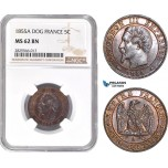 AD135-R, France, Napoleon III, 5 Centimes 1855-A (Dog) Paris, NGC MS62BN