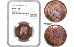 AD136-R, France, Napoleon III, 10 Centimes 1853-A, Paris, NGC MS64RB