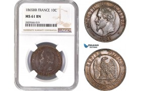 AD137-R, France, Napoleon III, 10 Centimes 1865-BB, Strasbourg, NGC MS61BN