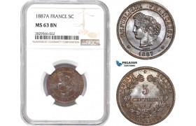 AD139-R, France, Third Republic, 5 Centimes 1887-A, Paris, NGC MS63BN