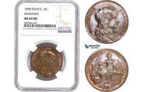 AD141-R, France, Third Republic, 10 Centimes 1898, Paris, NGC MS64BN