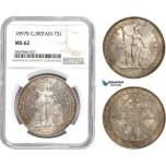 AD143-R, Great Britain, Trade Dollar 1897-B, Bombay, Silver, NGC MS62