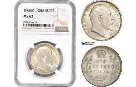 AD144-R, India, Edward VII, 1 Rupee 1906 (C) Silver, Calcutta, NGC MS62