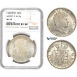 AD145, Italy, Naples & Sicily, Ferdinand II, 120 Granna 1834, Silver, NGC MS62