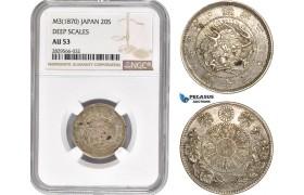 AD147-R, Japan, Meiji, 20 Sen Yr. 3 (1870) Deep Scales, Silver, NGC AU53