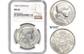 AD148-R, Latvia, 5 Lati 1929, Silver, NGC MS62