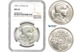 AD149-R, Latvia, 5 Lati 1931, Silver, NGC MS63