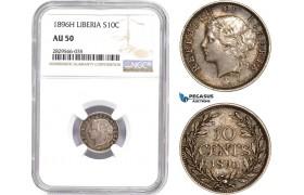 AD150-R, Liberia, 10 Cents 1896-H, Heaton, Silver, NGC AU50