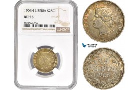 AD151-R, Liberia, 25 Cents 1906-H, Heaton, Silver, NGC AU55
