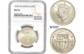 AD152-R, Mauritius, George VI, 1 Rupee 1938, Silver, NGC MS62