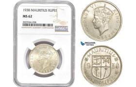 AD152-R, Mauritius, George VI, 1 Rupee 1938, Silver, NGC MS62