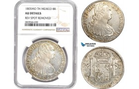 AD153-R, Mexico, Charles IV, 8 Reales 1805 Mo TH, Mexico City, Silver, NGC AU Details