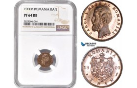 AD162-R, Romania, Carol I, 1 Ban 1900-B, Bucharest, NGC PF64RB, Pop 2/1