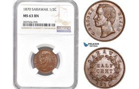 AD168-R, Sarawak, C. Brooke Rajah, 1/2 Cent 1870, NGC MS63BN