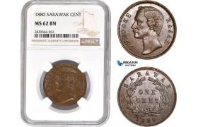 AD169-R, Sarawak, C. Brooke Rajah, 1 Cent 1880, NGC MS62BN