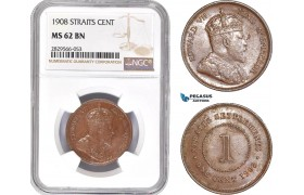 AD170-R, Straits Settlements, Edward VII, 1 Cent 1908, NGC MS62BN