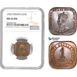 AD171-R, Straits Settlements, George V, 1 Cent 1920, NGC MS64BN