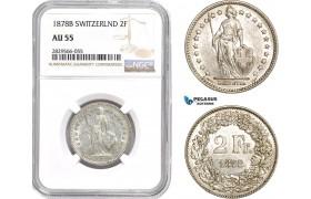 AD172-R, Switzerland, 2 Francs 1878-B, Bern, Silver, NGC AU55