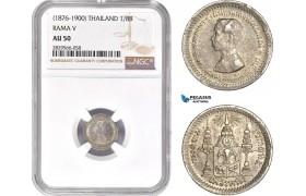 AD173-R, Thailand, Rama V, 1/8 Baht ND (1876-1900) Silver, NGC AU50