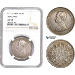 AD174-R, Thailand, Rama V, 1 Baht RS125 (1906) Silver, NGC AU50
