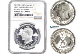 AD175-R, United Arab Emirates, Ajman, 7.5 Riyals 1970 ASSAY, Aluminum, NGC PF67UC