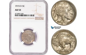 AD177-R, United States, Buffalo Nickel (5C) 1915-D, Denver, NGC AU53