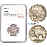 AD178-R, United States, Buffalo Nickel (5C) 1918, Philadelphia, NGC MS62