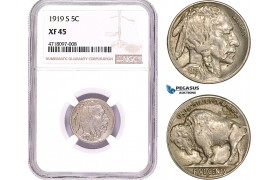 AD179-R, United States, Buffalo Nickel (5C) 1919-S, San Francisco, NGC XF45