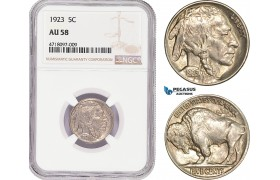 AD180-R, United States, Buffalo Nickel (5C) 1923, Philadelphia, NGC AU58