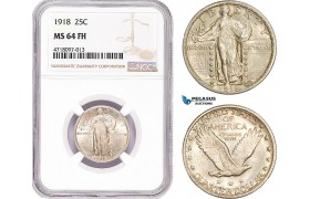 AD181, United States, Standing Liberty Quarter (25C) 1918, Philadelphia, Silver, NGC MS64FH