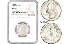 AD182-R, United States, Washington Quarter (25C) 1935-S, San Francisco, Silver, NGC AU55