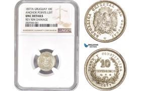 AD184-R, Uruguay, 10 Centesimos 1877-A, Paris, Silver, Anchor points left, NGC UNC Det.