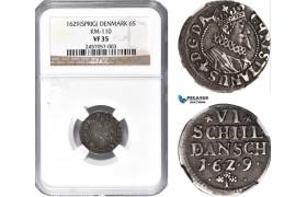 AD189, Denmark, Christian IV, 6 Skilling 1629, Silver, H 140B, NGC VF35
