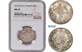 AD190, Ottoman Empire, Egypt, Abdul Hamid II, 5 Qirsh AH1327/2-H, Heaton, Silver, NGC MS63