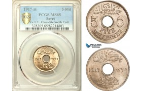 AD191, Egypt (Occupation coinage) 5 milliemes 1917-H, Heaton, PCGS MS65
