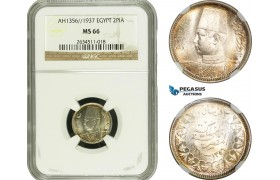 AD192, Egypt, Farouk, 2 Piastres AH1356 / 1937, Silver, NGC MS66, Pop 2/0