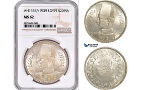 AD193, Egypt, Farouk, 20 Piastres AH1358 / 1939, Silver, NGC MS62